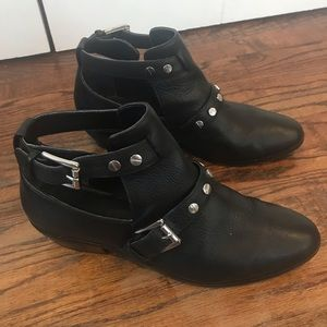 Rebecca Minkoff Abigail Leather Booties blk 8-1/2